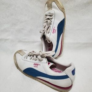 Puma Roma women's 9 Athletic Shoes White Blue Pink